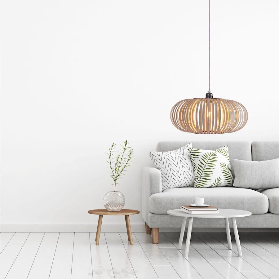 Stripes N° 2 pendant lamp made of narrow wooden stripes
